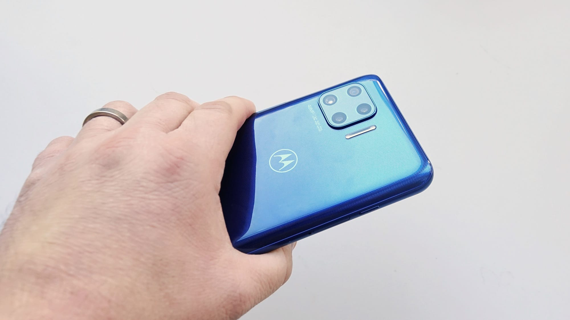 Holding the Moto G 5G Plus