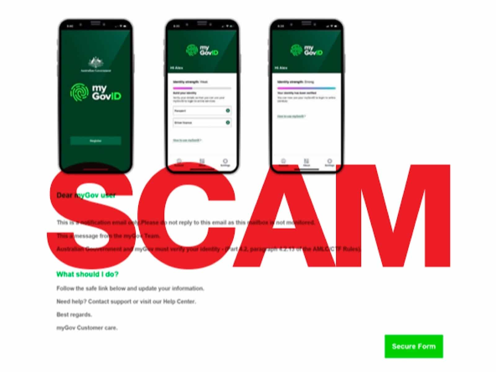 An image of what the myGovID scam looks like.