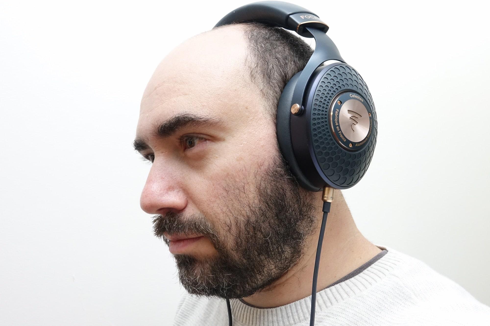 Wearing the Focal Celestee headphones