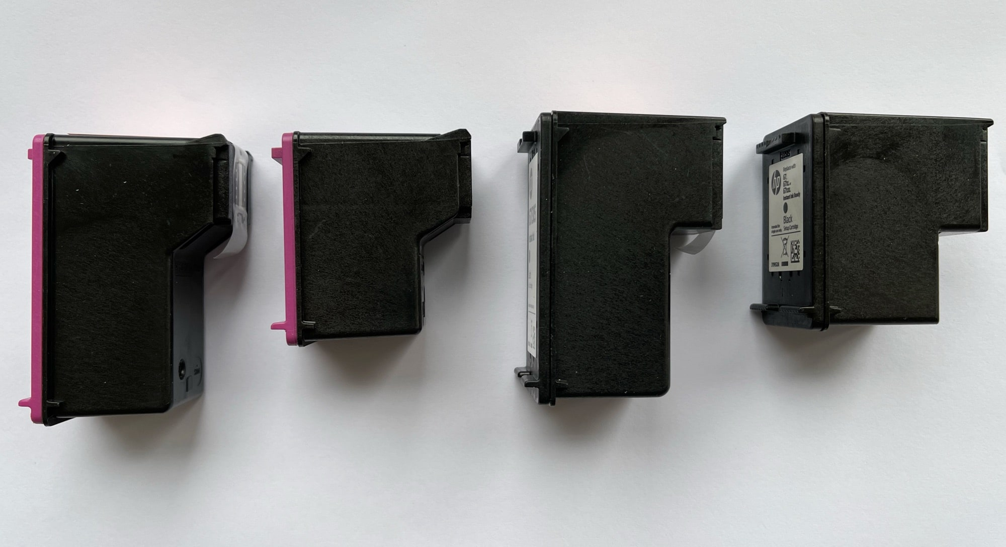 HP Instant Ink cartridges are very large, versus the smaller cartridges that come with the printer.
