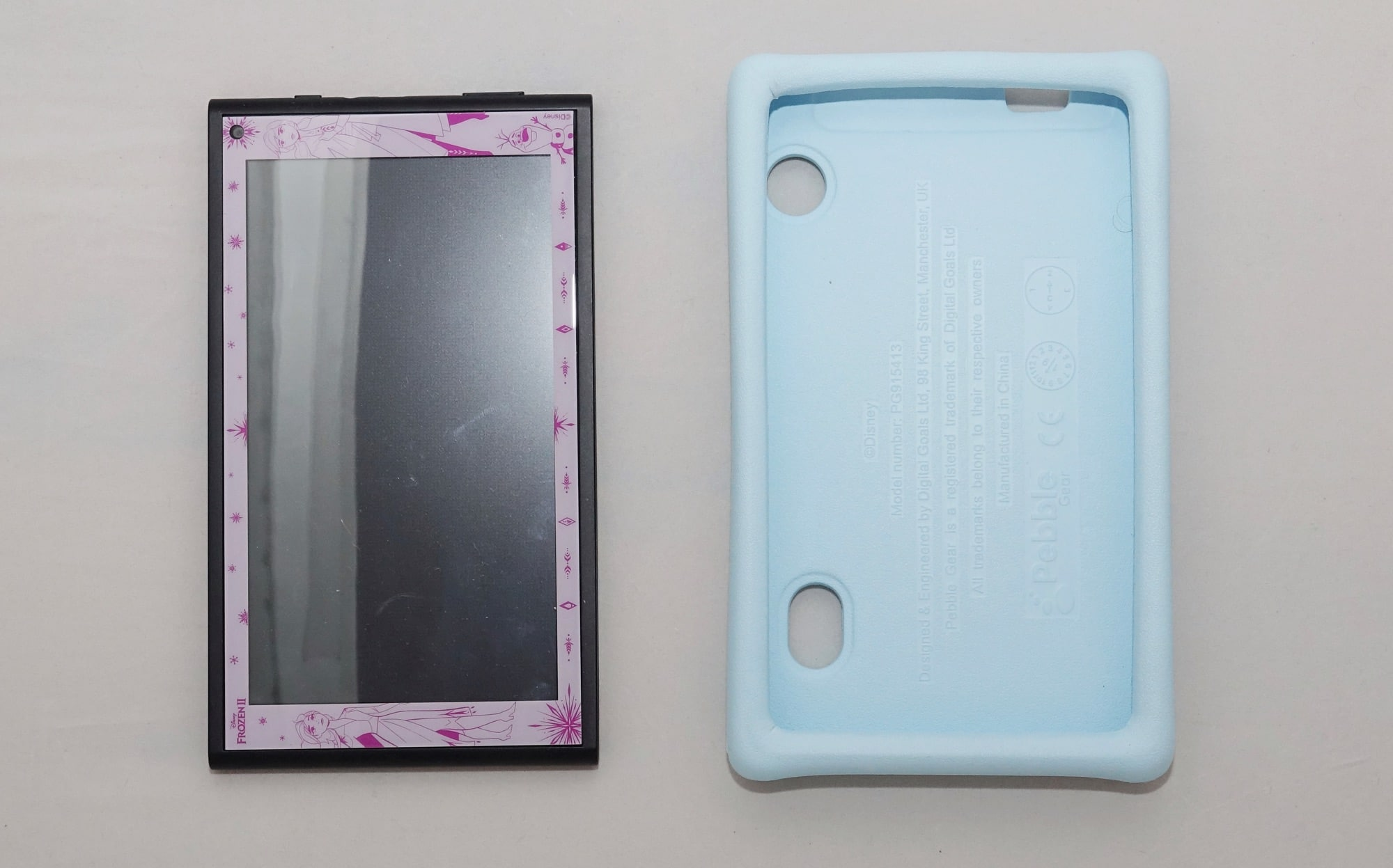 Pebble Gear Disney tablet for kids with the bumper case and a screen protector
