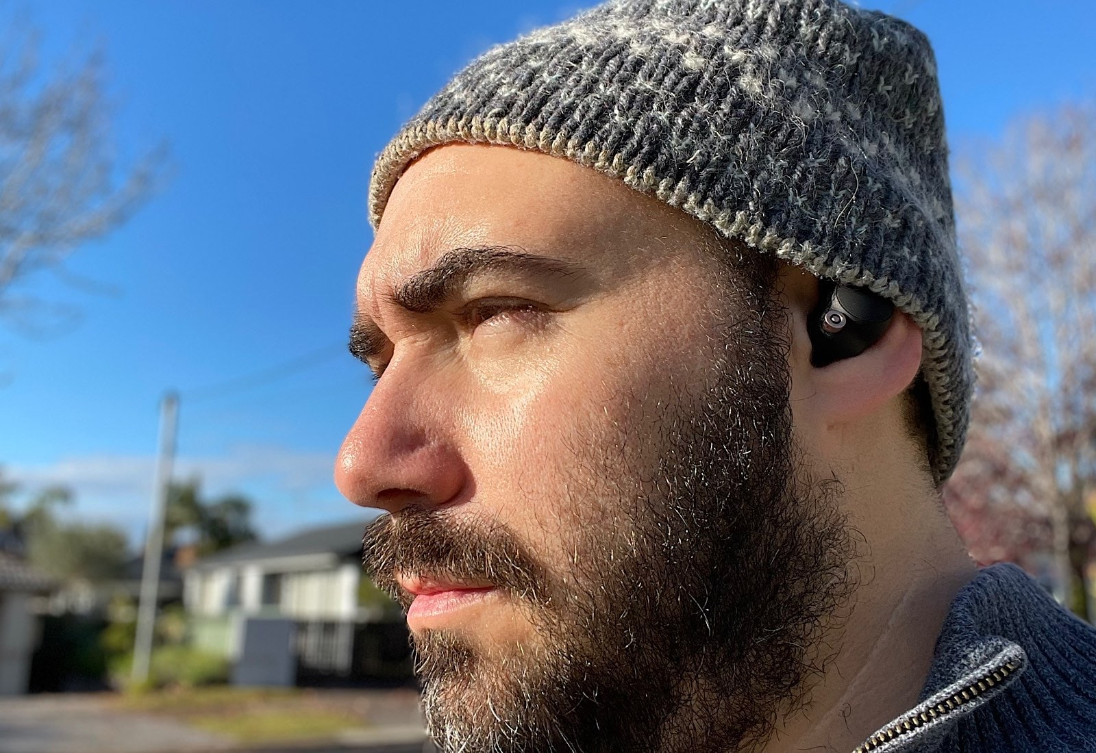 Wearing the Sony WF-1000XM4 on a cold Sydney day.
