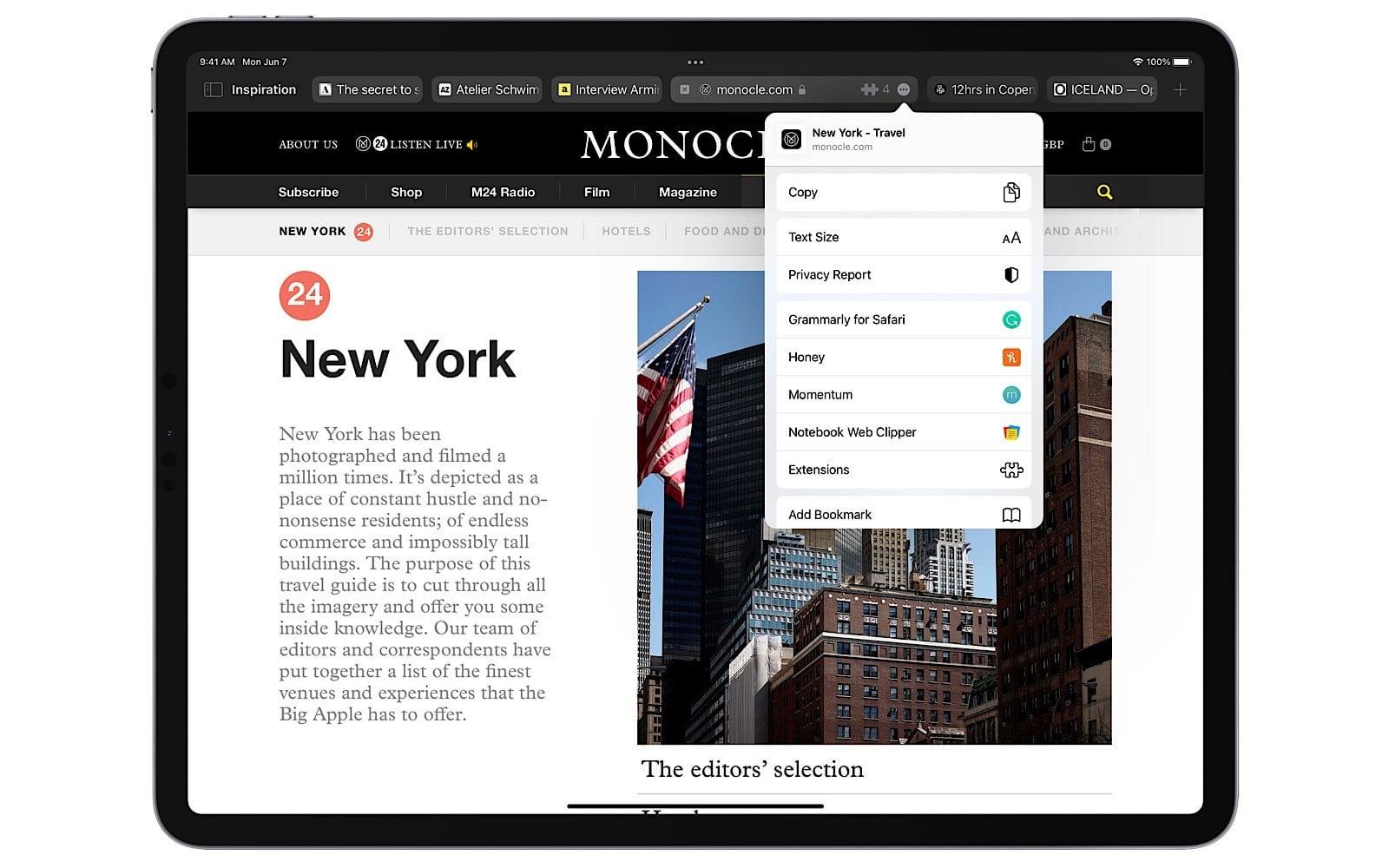 Safari on iPadOS 15