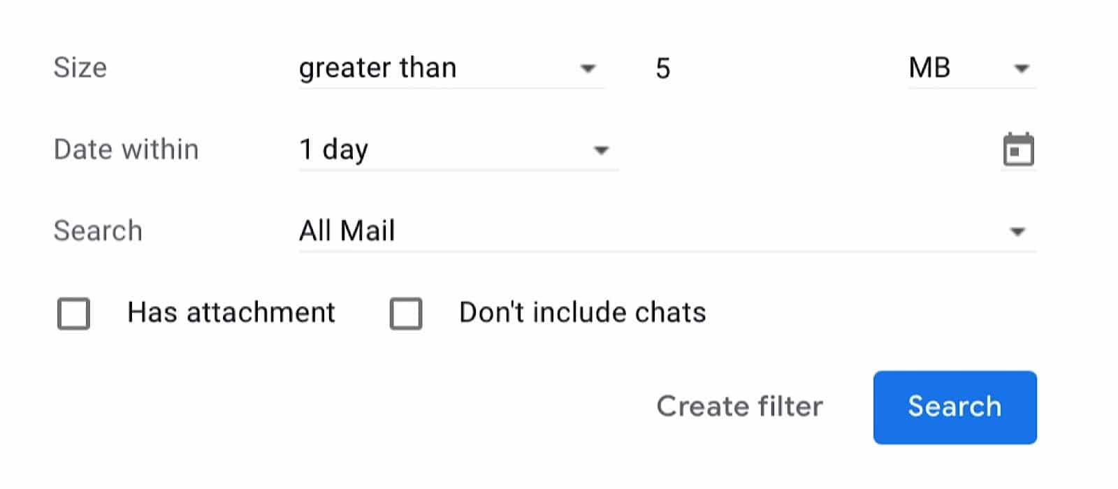 Check your Gmail for attachments bigger than a certain size