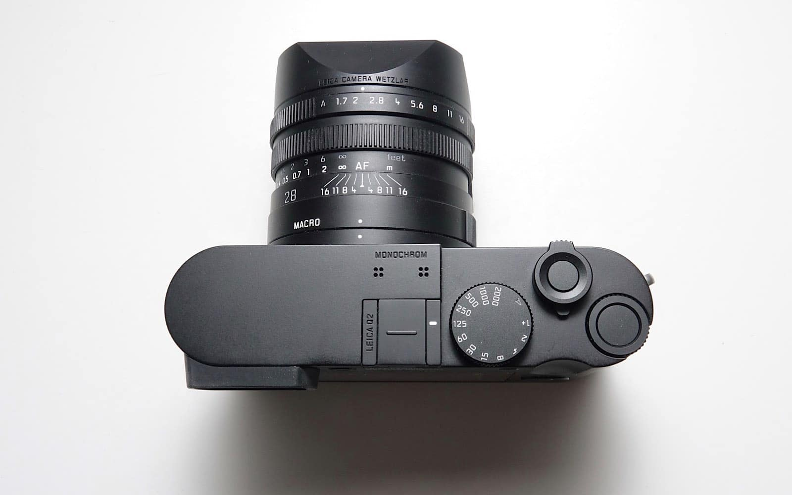 Leica's Q2 Monochrom from the top.