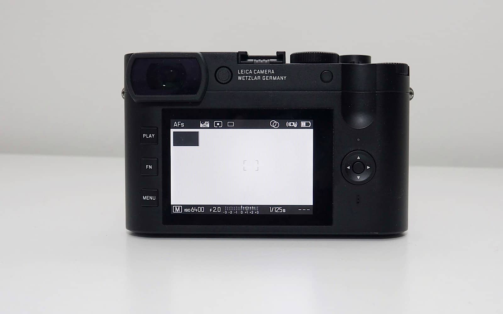 The back of the Leica Q2 Monochrom