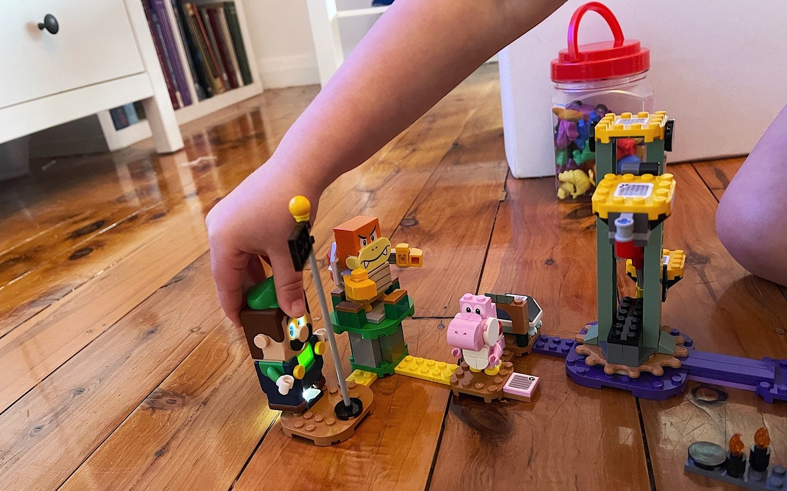 Playing with the Lego version of Mario Bros.
