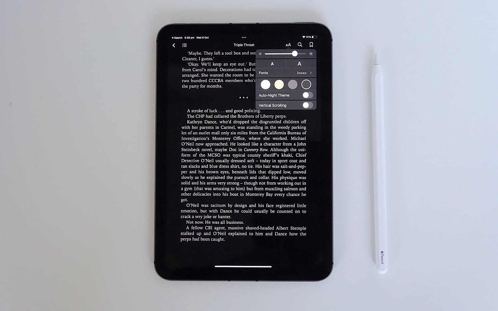Reading a book on the iPad Mini