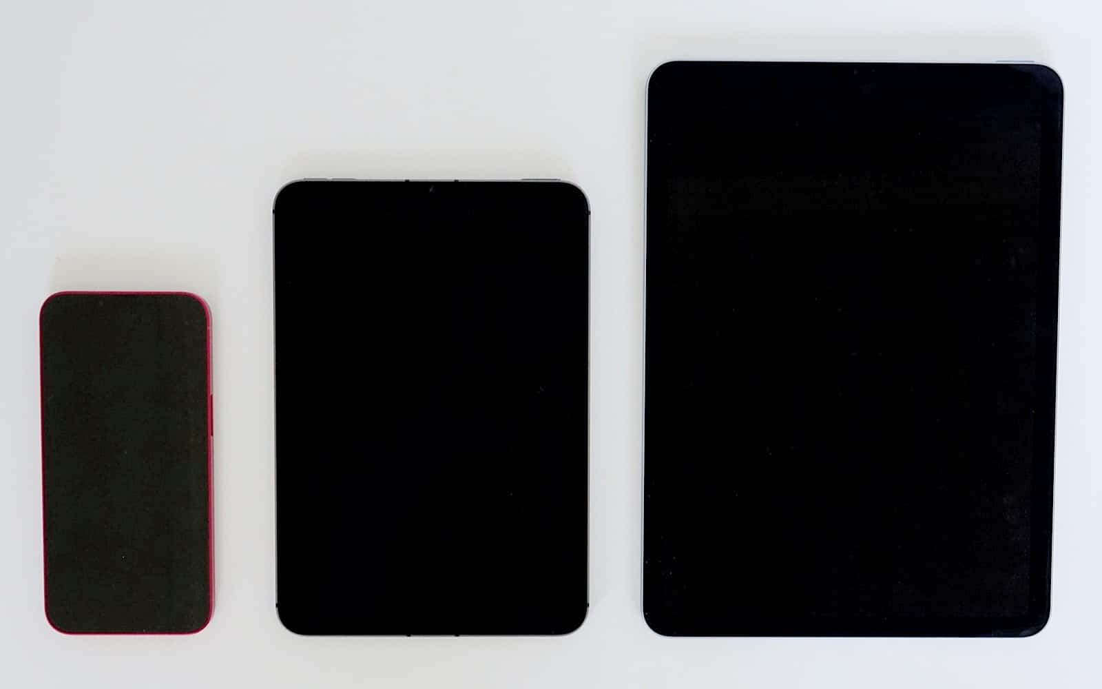 From left to right: iPhone 13, iPad Mini, iPad Air