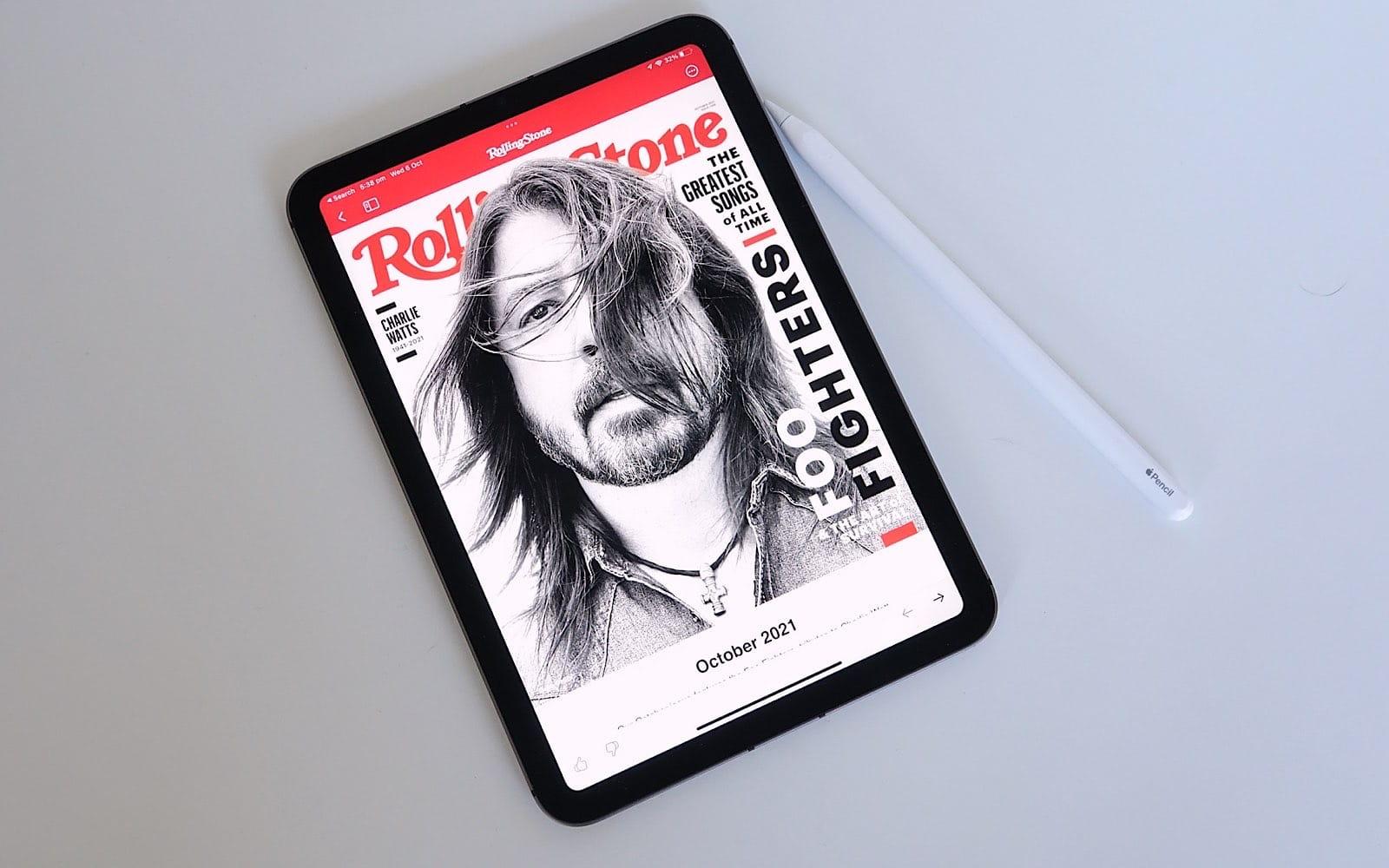 Reading Rolling Stone magazine on the iPad Mini from Apple News+.